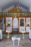 29 Juli 2016 - het binnenland van een kleine kapel, in Kythnos-eiland, Cycladen, Griekenland Stock Afbeeldingen
