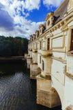 23 juli, 2017 het kasteel van Chenonceau frankrijk De voorgevel van het middeleeuwse kasteel van dames Het koninklijke middeleeuw stock foto