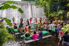 15,2017 juli het restaurant van het lunchbuffet in villaescudero, Laguna, Stock Foto's