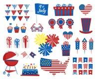4. Juli Ikonen Unabhängigkeitstag von USA-Farben Auch im corel abgehobenen Betrag Lizenzfreie Stockfotos