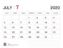 JULI 2020 Jaarmalplaatje, Kalender 2020 Vector, het Ontwerp van de Bureaukalender, Weekbegin op Zondag, Ontwerper, Kantoorbehoeft vector illustratie