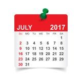 Juli 2017 kalender Arkivbild