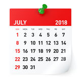 Juli 2018 - kalender stock illustrationer