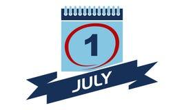 1. Juli Kalender mit Band Stockfotografie