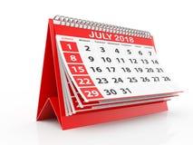 Juli 2018 Kalender op witte achtergrond 3D Illustratie Royalty-vrije Stock Foto