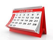 Juli 2018 Kalender op witte achtergrond 3D Illustratie Stock Afbeeldingen