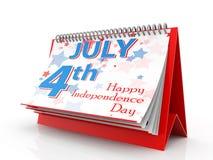 Juli 4 kalender, självständighetsdagen som isoleras på vit bakgrund Fjärdedel av Juli, enig påstådd självständighetsdagen 3d fram Arkivfoton