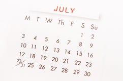 Juli kalendersida Fotografering för Bildbyråer