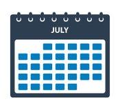 Juli kalendersymbol stock illustrationer