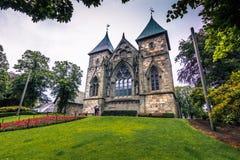 19 juli, 2015: Kathedraal van Stavanger, Noorwegen Stock Afbeeldingen