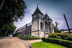 19 juli, 2015: Kathedraal van Stavanger, Noorwegen Royalty-vrije Stock Foto's