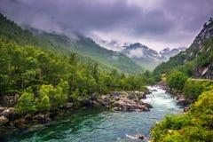 21 juli, 2015: Kleine rivier in het Noorse platteland, Noorwegen Royalty-vrije Stock Foto