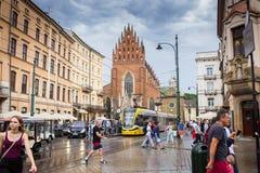 10 Juli 2017-Krakow, Polen - gammalt centrum, Krakow marknad Squa Arkivbilder