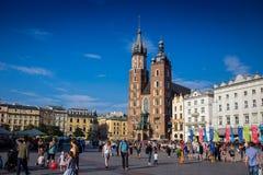 10 Juli 2017-Krakow, Polen - gammalt centrum, Krakow marknad Squa Royaltyfri Fotografi
