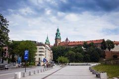 10 Juli 2017-Krakow, Polen - gammalt centrum, Krakow marknad Squa Arkivfoto