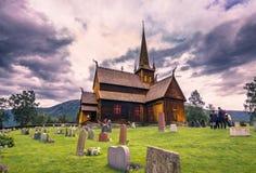 24 juli, 2015: Lom Stave Church, Noorwegen Royalty-vrije Stock Foto