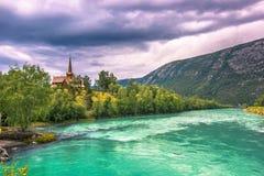 24. Juli 2015: Lom Stave Church, Norwegen Stockfotografie