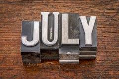 Juli månad i metalltyp Fotografering för Bildbyråer