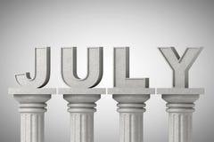 Juli månadtecken på klassiska kolonner stock illustrationer