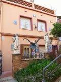 04 juli 2016, Malgrat DE Mar, Spanje Mooie verfraaide voorgevel Stock Foto's