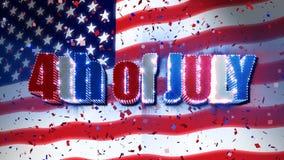 Juli 4. mit USA-Flagge u. -Konfettis lizenzfreie abbildung