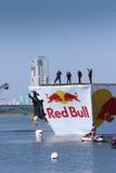 26. JULI 2015 MOSKAU: Roter Stier flugtag Tag Lizenzfreie Stockfotos