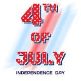 4. Juli narbige Sterne Große helle Bürstenanschläge des Zeichens am 4. Juli auf weißem Hintergrund Lizenzfreie Stockbilder