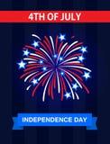 4 Juli, Onafhankelijkheidsdag in de Verenigde Staten van Amerika De kaart van groeten Vier het met het vuurwerk Stock Afbeeldingen
