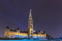 15 juli, 2015 - Ottawa, OP Parlementsgebouwen van Canada - van Canada Stock Afbeelding