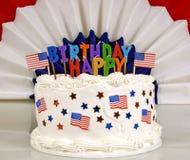 4. Juli patriotischer Geburtstags-Kuchen Stockbild