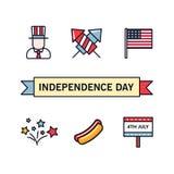 4 Juli Patriottische Pictogrammen Onafhankelijkheidsdag van Amerika Vector geplaatste pictogrammen Inzameling van vlakke geïsolee Stock Fotografie