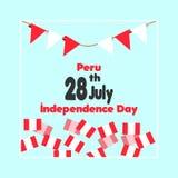28 Juli Peru Happy Independence Day Vieringsachtergrond met Vlaggen, en Tekst Stock Illustratie