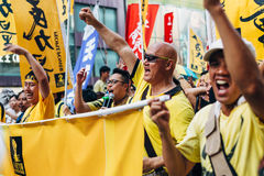 1 Juli-protest in Hong Kong Stock Foto's