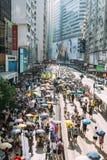 1 Juli protest i Hong Kong Arkivfoto