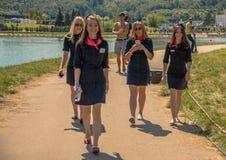 26. Juli 2015 Red Bull Flugtag Vor den Wettbewerbsanfängen Lizenzfreie Stockfotos