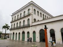 22. Juli 2018 Santos, São Paulo, Brasilien, historische Mitte, gegenwärtiges Pele Museum Casarão Valongo lizenzfreies stockbild