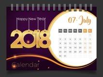 Juli 2018 Skrivbordkalender 2018 Royaltyfri Fotografi