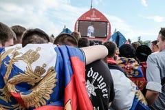 Juli 1st 2018, Moskva, Ryssland Ryska supportrar firar Arkivfoto