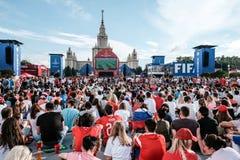 Juli 1st 2018, Moskva, Ryssland Ryska supportrar firar Fotografering för Bildbyråer