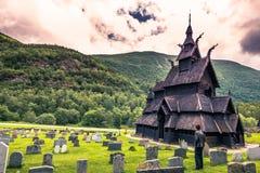 23 juli, 2015: Staafkerk van Borgund in Laerdal, Noorwegen Royalty-vrije Stock Fotografie