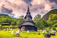 23 juli, 2015: Staafkerk van Borgund in Laerdal, Noorwegen Stock Foto's