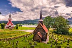 25 juli, 2015: Staafkerk van Rodven, Noorwegen Stock Foto's