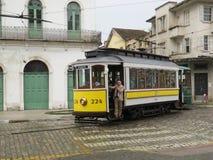 Juli 22, 2018, stad av Santos, São Paulo, Brasilien, turnerar bilen för elektrisk kabel i touristic royaltyfri foto