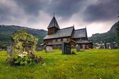 21 juli, 2015: Stave Church van Roldal, Noorwegen Stock Foto