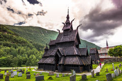 23. Juli 2015: Stave Kirche von Borgund in Laerdal, Norwegen Stockfotografie