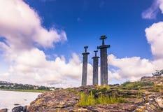 20 juli, 2015: Sverd I Fjell Viking Monument dichtbij Stavanger, noch Stock Fotografie