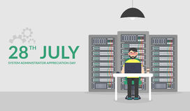 28 Juli-Systeembeheerder Appreciation Day Vectorillustratie in vlakke stijl Het Onderhoud van de technologieënserver Stock Fotografie