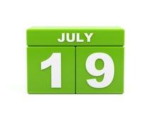 Juli 19th Bild av juli 19, kalender på vit bakgrund 3d Arkivbilder