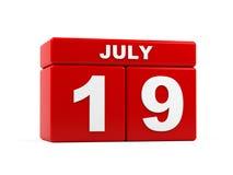 Juli 19th Bild av juli 19, kalender på vit bakgrund 3d Royaltyfria Foton