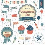 Juli 4th emblem, designbeståndsdelar och clipart Stock Illustrationer